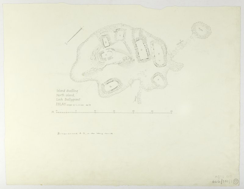 Survey drawing; Loch Ballygrant, Islay.  Titled: 'Island dwelling, North Island, Loch Ballygrant, Islay'