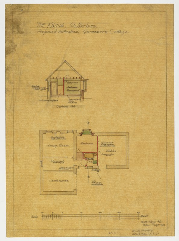 Plan and section of gardener's cottage within stables.