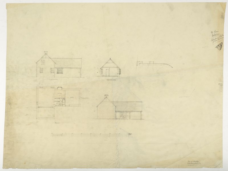 Plan, elevation and section of gardener's cottage within stables.