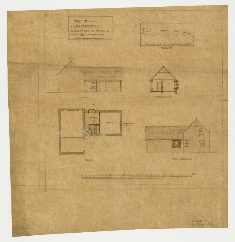 Alterations of stables. Plans, sections and elevations