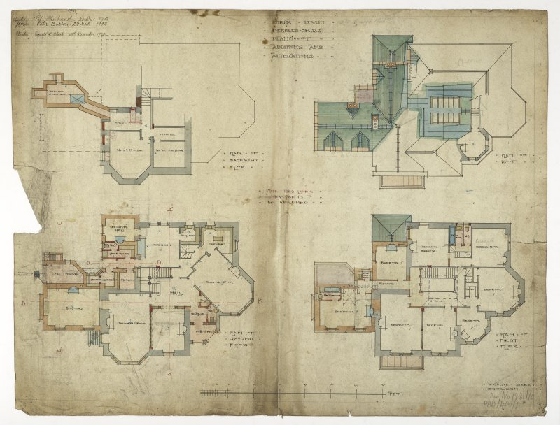 Walkerburn, Kirna House. Plan of basement, ground, first floor and roof, additions and alterations.