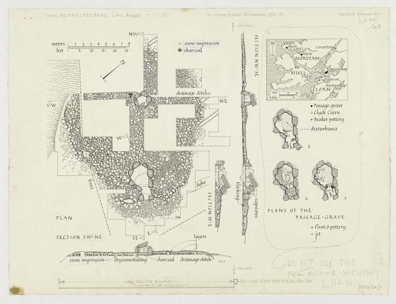 Publication drawing; plan and sections of Achnacreebeag Cairn, plan of passage grave, location plan.