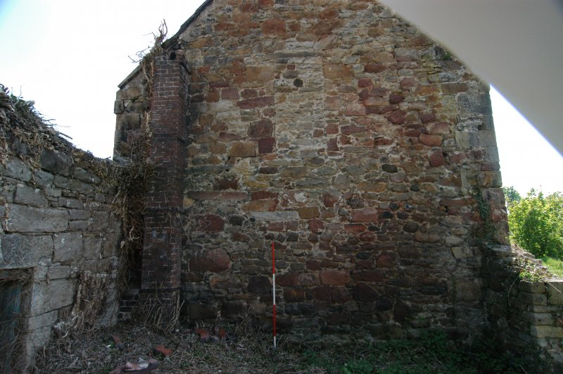 Building 3, north-east-facing gable wall, fabric and blocking