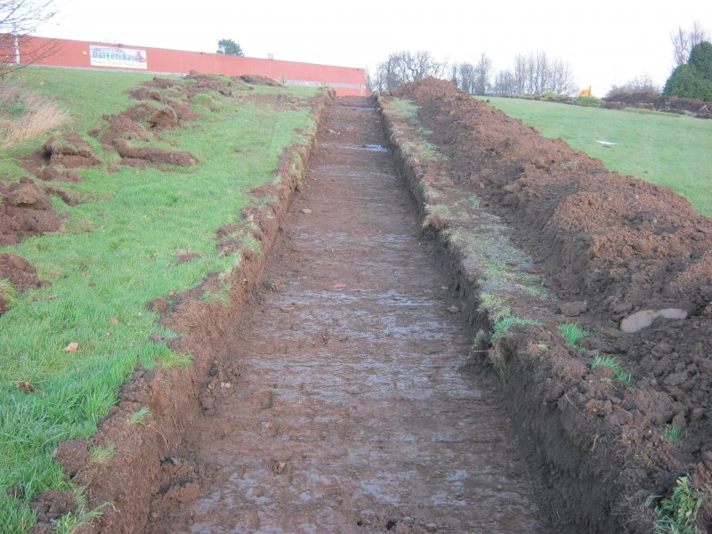 Archaeological Evaluation, Trench 2 post-excavation from SW, Donibristle Airfield, Dalgety Bay