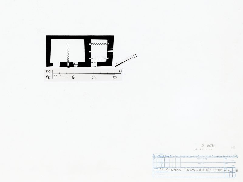 Publication drawing. Arichonan Township. Plan of house and barn (building D2).