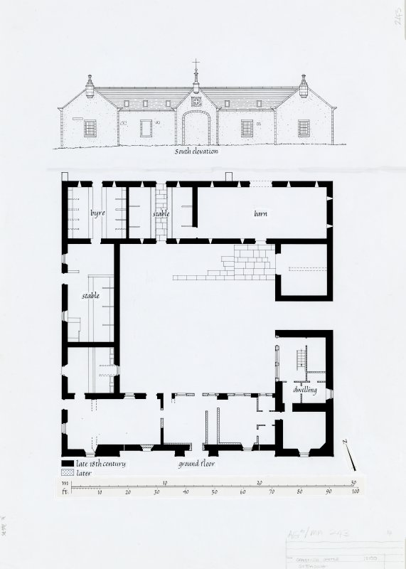 Publication drawing. Craignish Mains, farm steading: Ground plan and S elevation