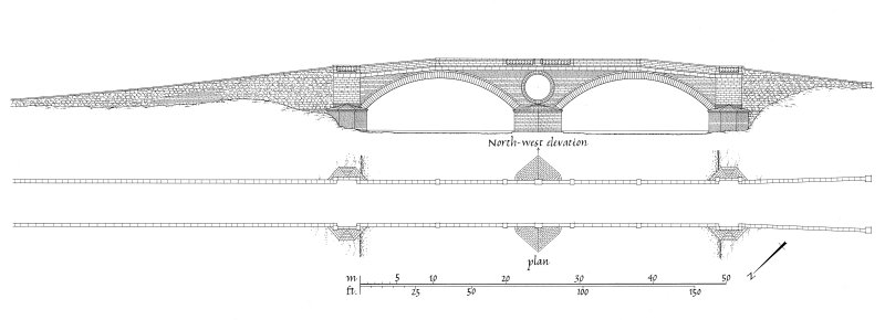 Publication drawing. Aray Bridge, Inveraray; plan and north west elevation