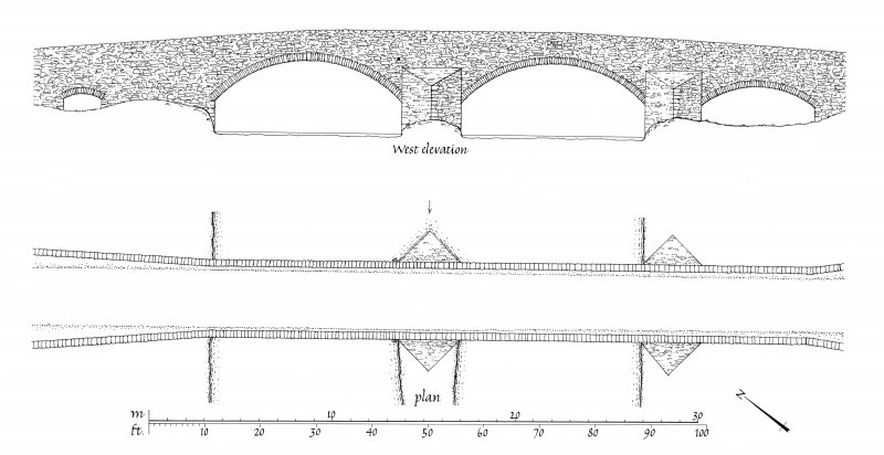 Publication drawing. Kilmichael Bridge; Plan and South elevation.