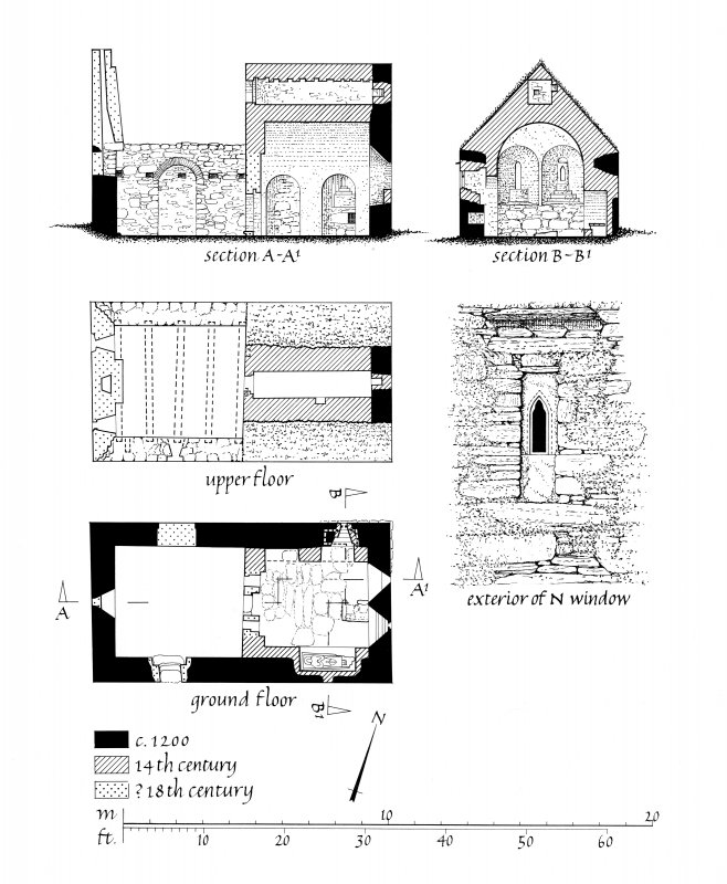 Publication drawing. Chapel, Eilean Mor; plans, sections and detail.