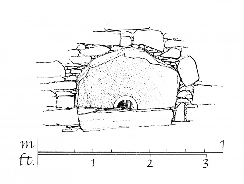 Publication drawing. Old Parish Church, Keills; Millstone in South wall.