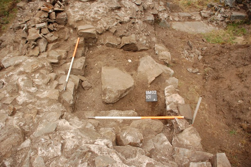 Watching brief photograph, Kindrochit Castle, Tower house W wall interior recess ctx 101 pre excavation