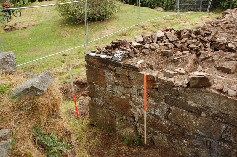 Watching brief photograph, Kindrochit Castle, Deturfed tower house E wall, wall face 18 moving southwards