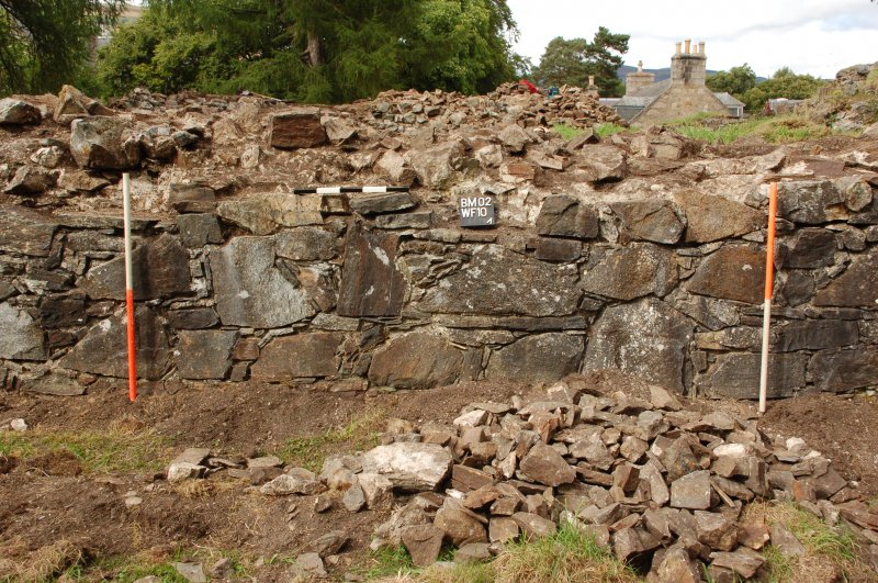 Watching brief photograph, Kindrochit Castle, Deturfed tower house S wall, (WF 10) moving westwards