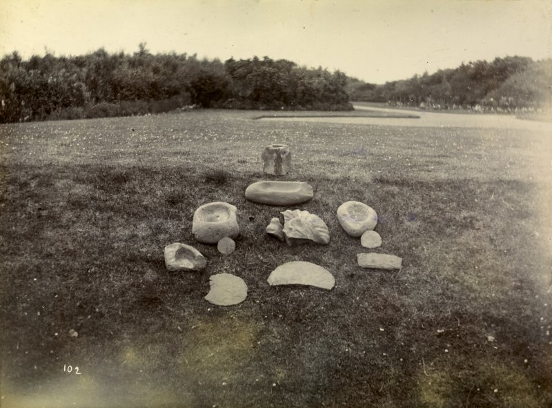 Photograph at Nybster Broch, collection of worked stone objects.