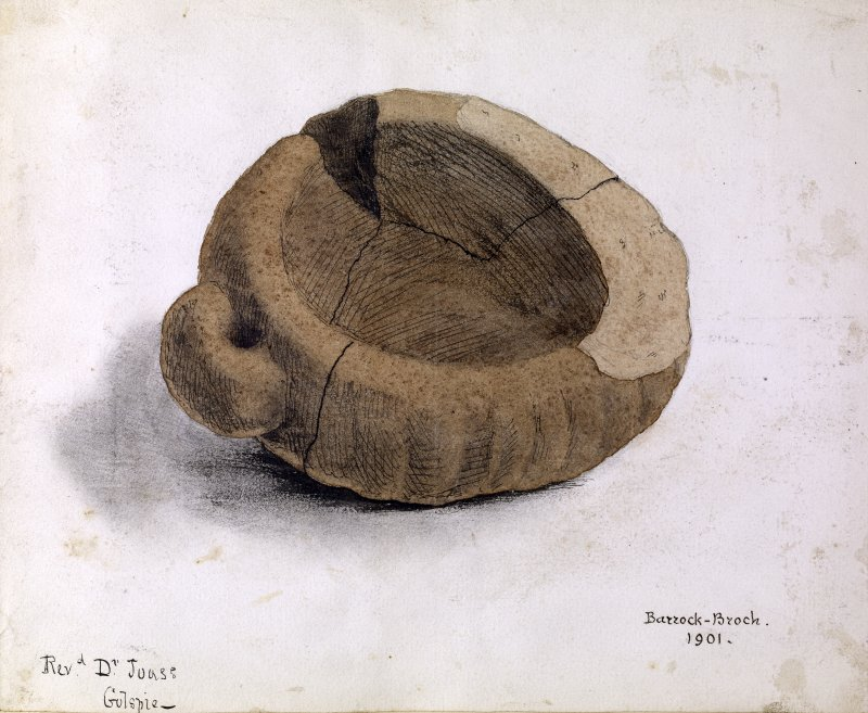 Drawing of a carved stone with handle, entitled 'Barrock Broch 1901.' Rev. D. Joass, Golspie.
