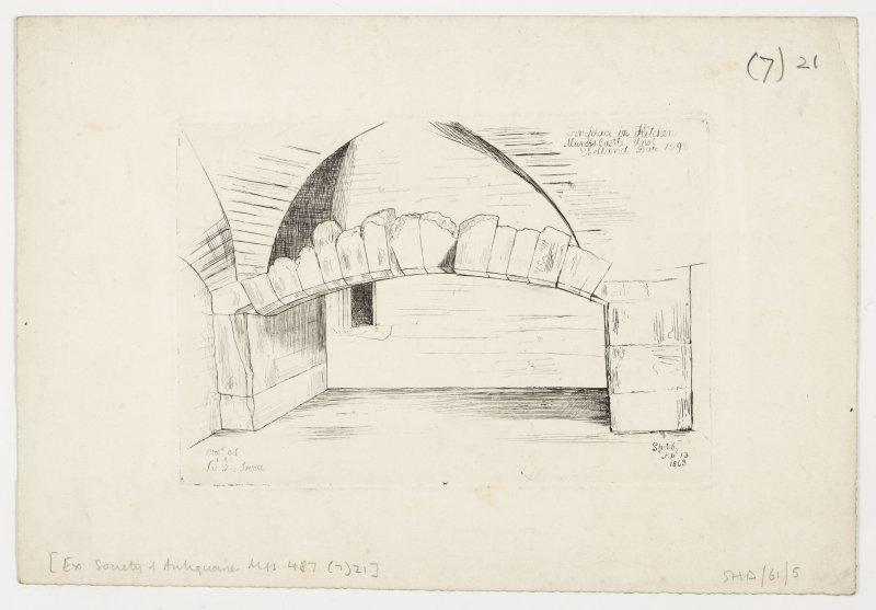 Drawing of kitchen fireplace, Muness Castle.