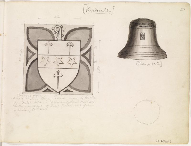 Drawings of armorial panel and bell from St Magnus Cathedral, Kirkwall, Orkney.