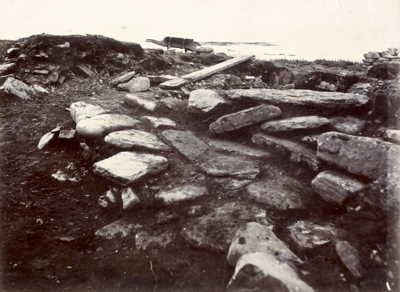 Photograph, Keiss White Broch, slab roof over outside habitation.