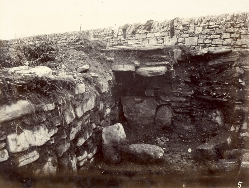 Photograph, Keiss White Broch, outside habitation, part of stone roof.