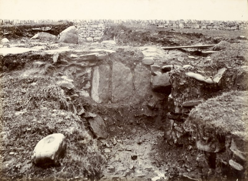 Photograph, Keiss White Broch, large stones in exterior wall of outside habitation.