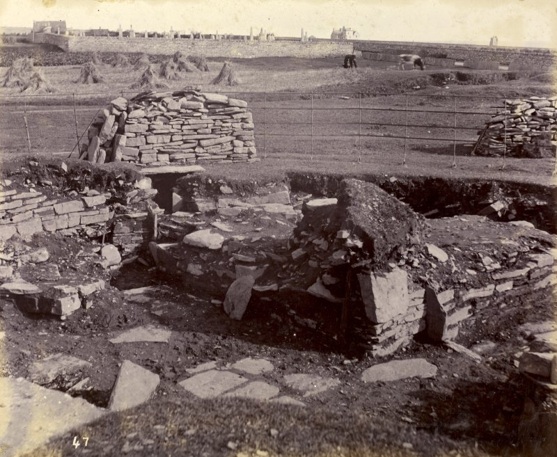Photograph, Keiss Road Broch, circular construction outside entrance.