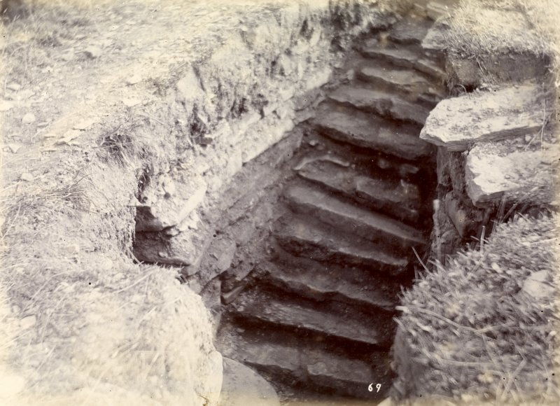 Photograph, Keiss Road Broch, north steps in the wall.