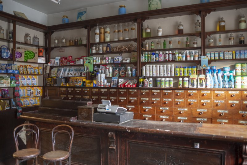Interior. View of cabinets and shelves layout.