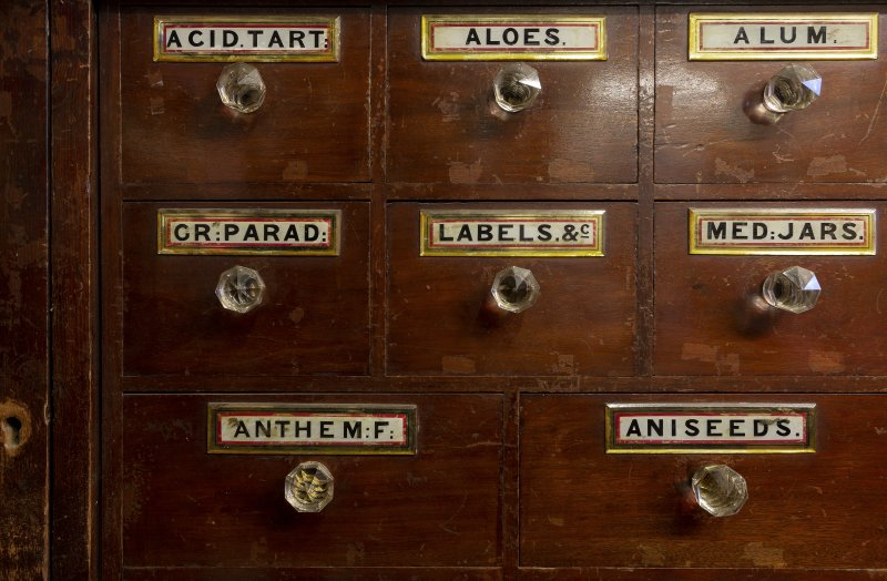 Interior. Detail of late 19th century cabinet drawers.