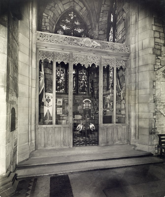 Interior view showing wooden screen, panels and iron gates in situ, Chapel of Youth, St Giles Cathedral, Edinburgh.