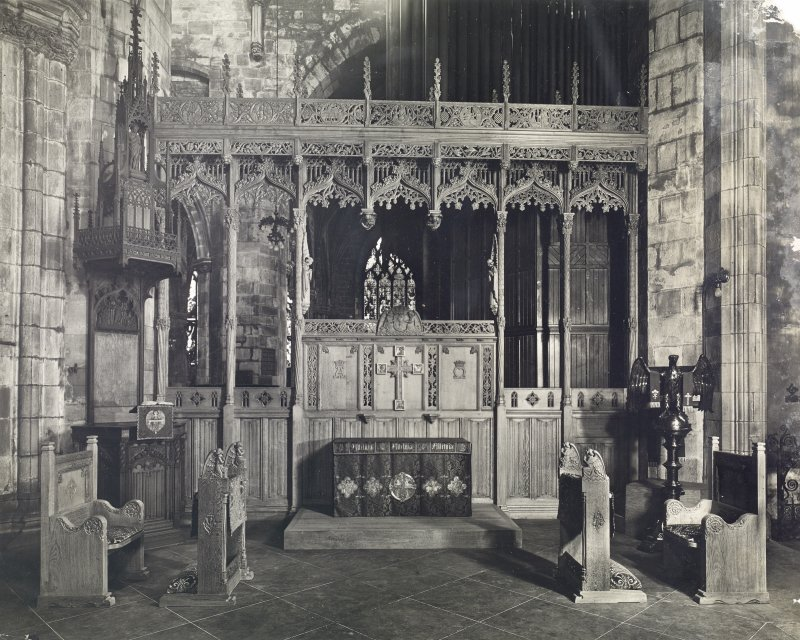 Interior view showing screen and furnishings in situ, Moray Aisle, St Giles Cathedral, Edinburgh.