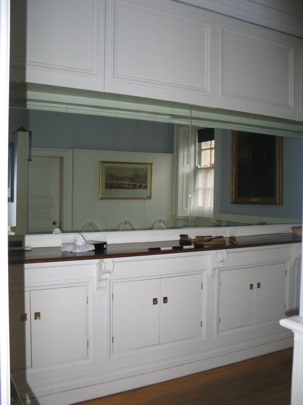 Historic building recording, Structure A, Dressing table in men's WC W room from NW, Archers Hall, 66 Buccleuch Street