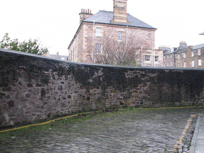 Historic building recording, Structure H, Location of proposed opening at Boroughloch boundary wall from N, Archers Hall, 66 Buccleuch Street