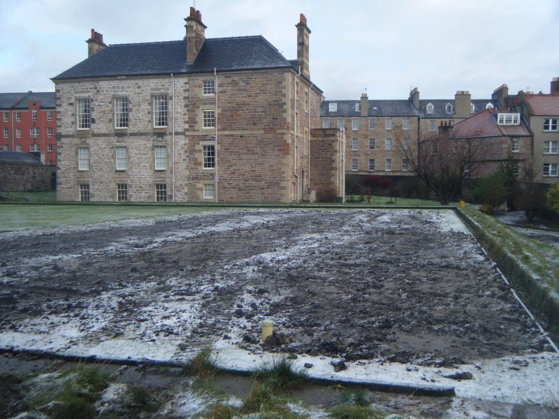 Archaeological evaluation, View of backfilled trenches 5 and 6 on bowling green from NE, Archers Hall, 66 Buccleuch Street