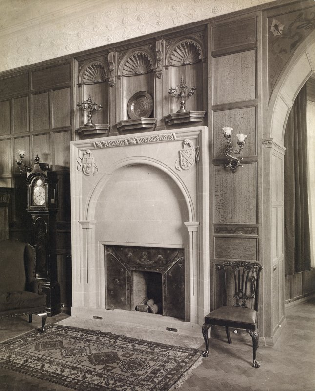 Interior view of Hallyburton House showing fireplace.