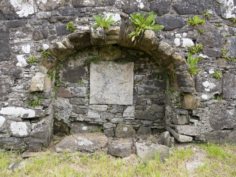 Eigg, Kildonan Church. Interior. Detail of burial recess.