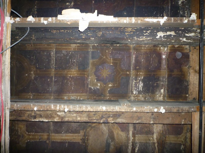 Standing building recording, Detail view of painted ceiling, 343 High Street, Edinburgh