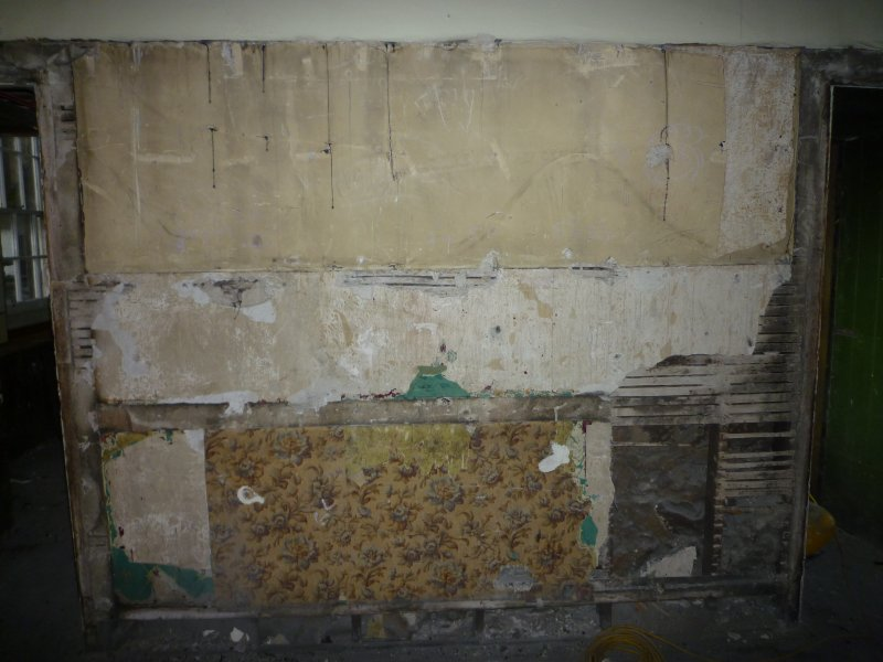 Standing building recording, General view of wall with wallpaper, 343 High Street, Edinburgh