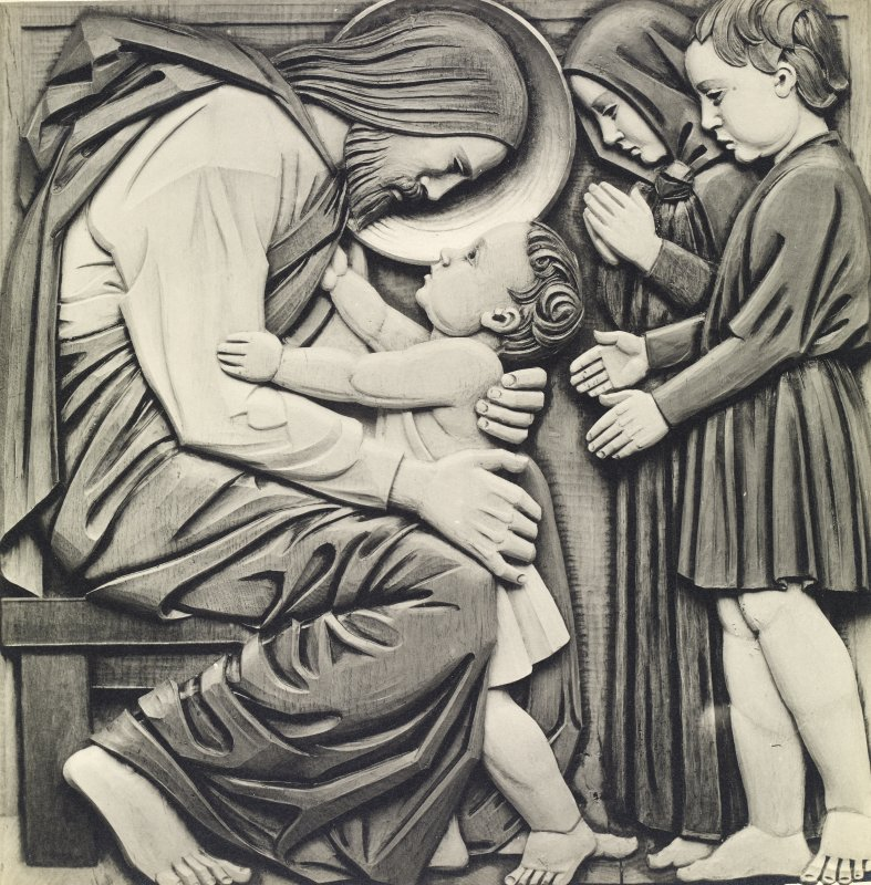 Detail of carved oak panel showing the subject 'Suffer the little children' on nave ceiling, St John's Church, Perth.
