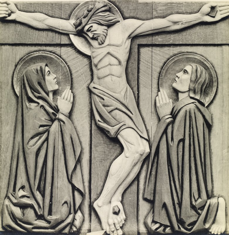 Detail of carved oak panel showing the Crucifixion on nave ceiling, St John's Church, Perth.