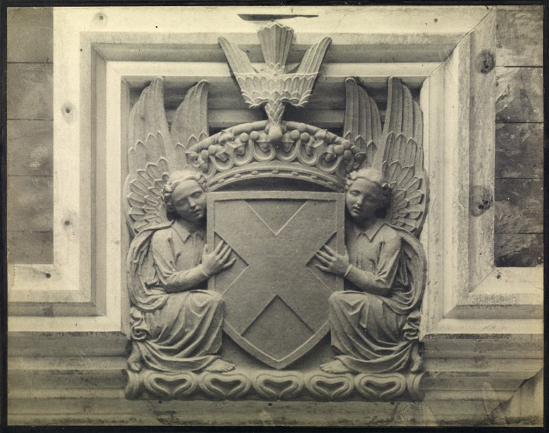 View of panel above entrance door, University Library, St Andrews.