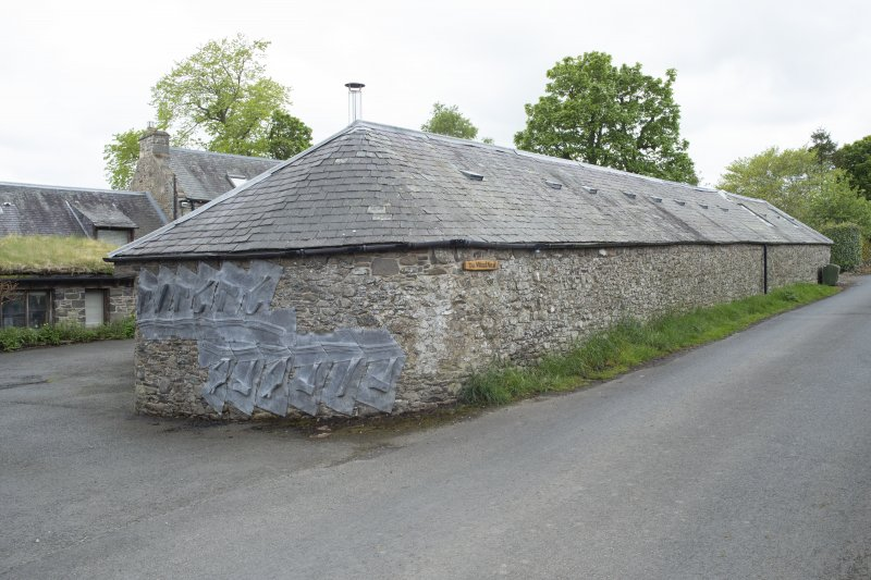 View from south-east showing sculpture by Charles Poulson at the workshop, The Steading, Nether Blainslie.