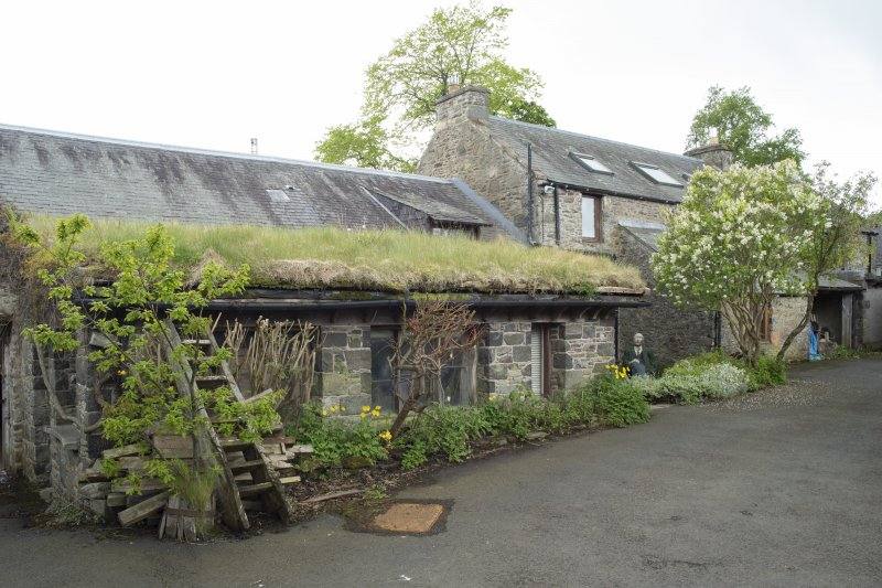 View from north-east showing workshop attached to house at The Steading, Nether Blainslie.