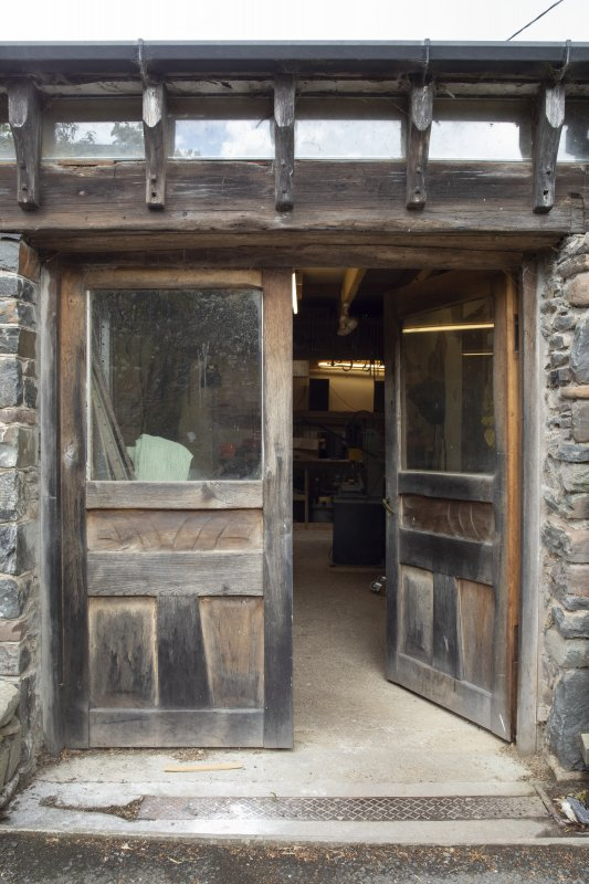 Detail of entrance doors at stables workshop at The Steading, Nether Blainslie.
