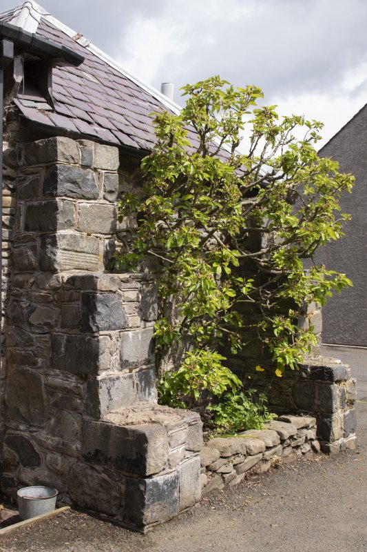 Detail of stepped walls at stables workshop at The Steading, Nether Blainslie.