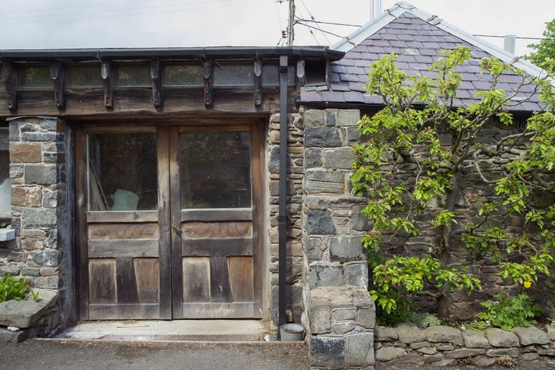 Detail of entrance to stables workshop at The Steading, Nether Blainslie.