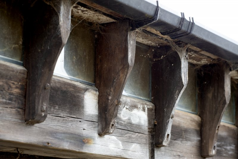 Detail of wooden corbels on stables workshop at The Steading, Nether Blainslie.