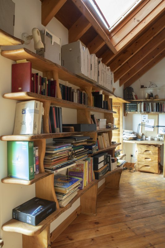 Interior view showing detail of bookcase in Bedroom Two on first floor of house at The Steading, Nether Blainslie.