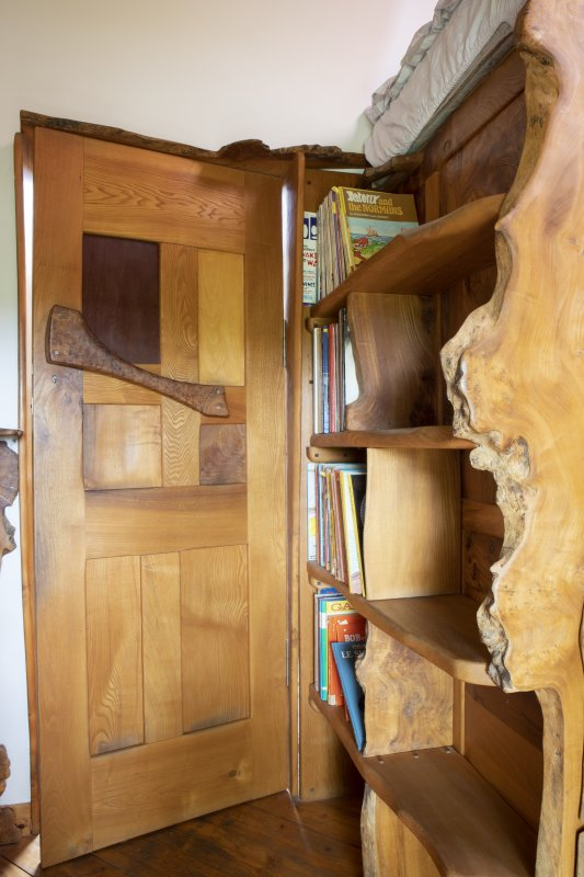 Interior view showing detail of door in Bedroom Two on first floor of house at The Steading, Nether Blainslie.