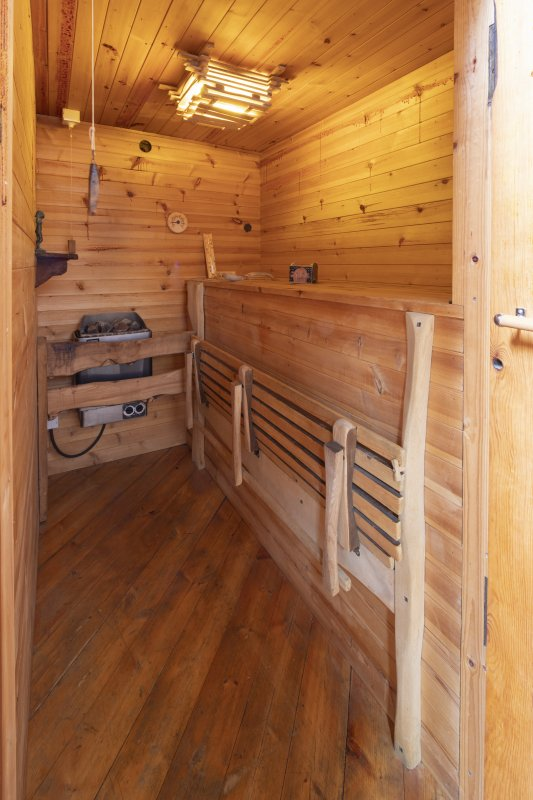 Interior view showing bathroom sauna on first-floor of house at The Steading, Nether Blainslie.
