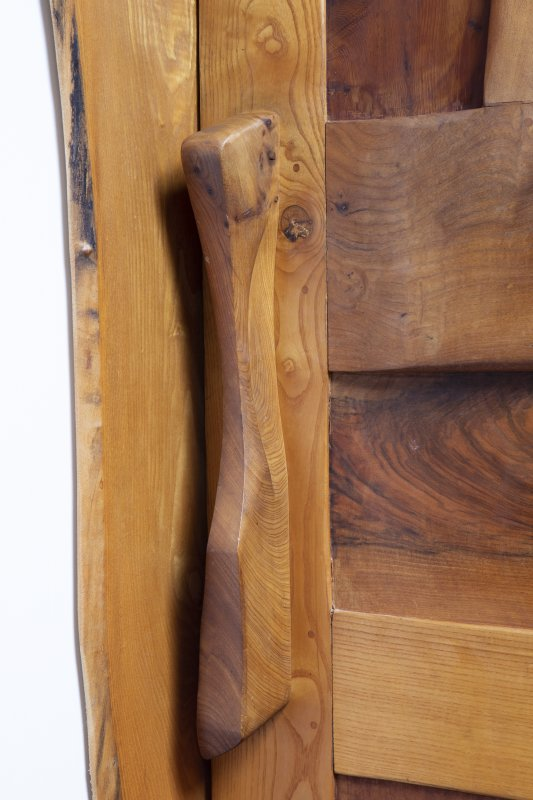Interior view showing detail of door handle to bathroom on first-floor of house at The Steading, Nether Blainslie.